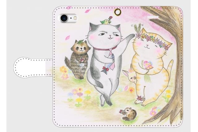(iPhone用)猫の結婚式の手帳型スマホケース