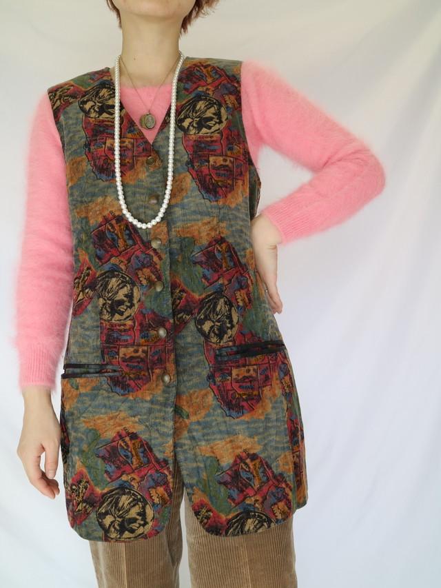 all pattern corduroy mini dress 【0190】