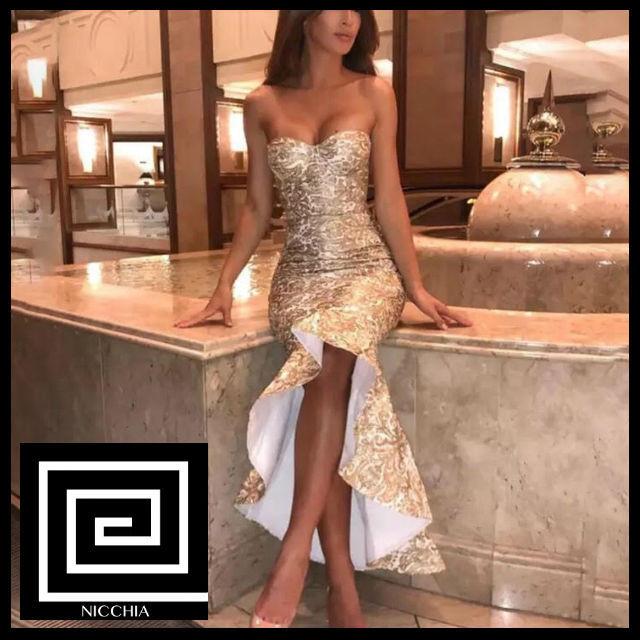 マーメイドミディゴールドレースドレス