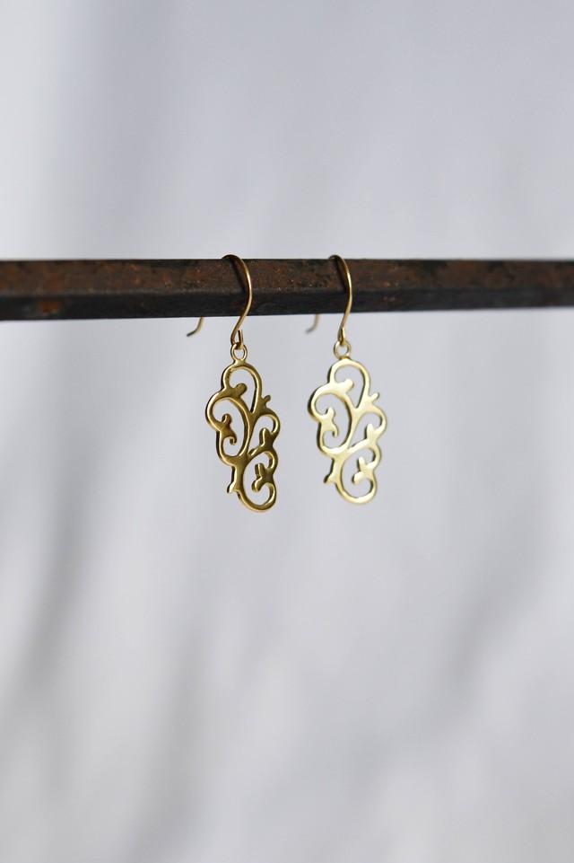 K18 Arabesque Design Earrings flower 18金アラベスクデザインピアス/イヤリング(フラワー)