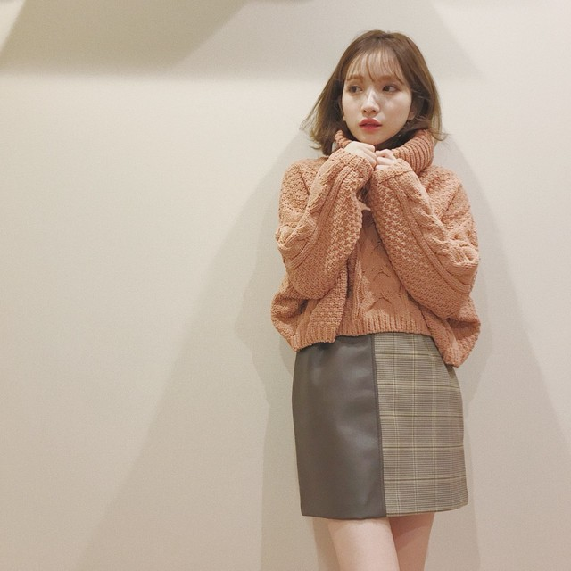 【予約販売】bicolor square mini skirt(A18-3003K)