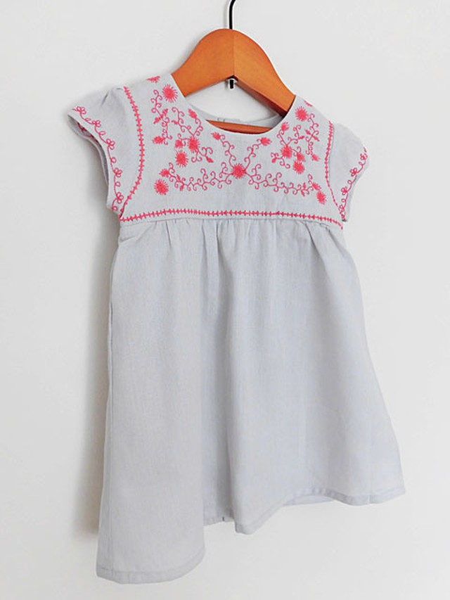 オーガニックコットン フリルショーツ付 刺繍ワンピース ベビー服 【purebaby】