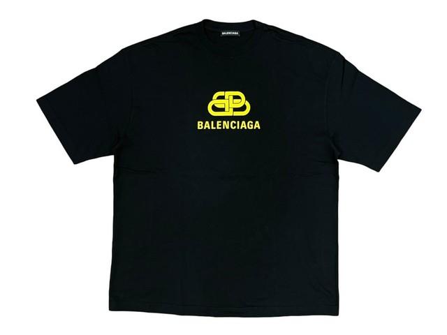 BALENCIAGA BB LOGO TEE BLACK YELLOW MEDIUM 150KB2698