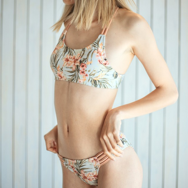 Sporty Bikini Set Beige Botanical