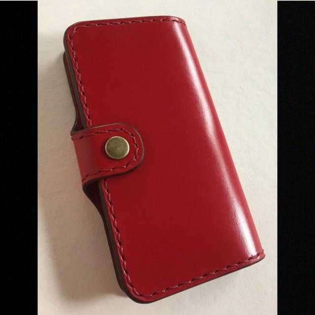 【オーダー】iPhone6sケース「ブライドルレザー赤」