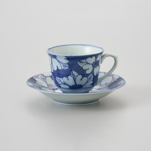 【青花】花濃 百合型コーヒー碗皿