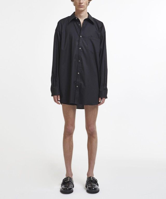 Black Logo Text Embroidered Oversized Shirt