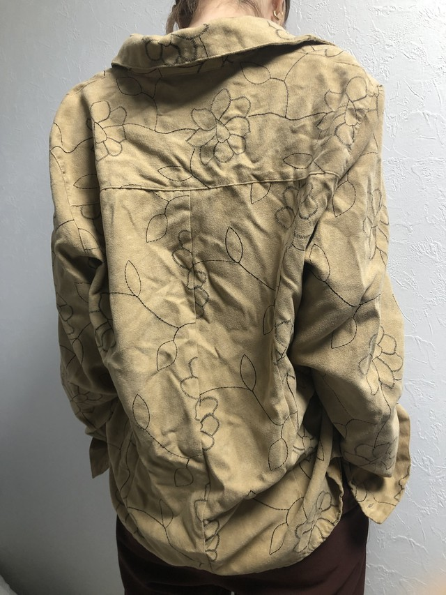 vintage flower embroidery shirt