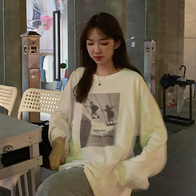 2021SS ルーズでシンプルなプリント長袖Tシャツ S1946