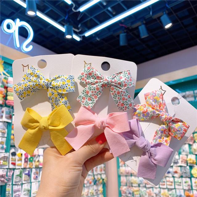 【即納】リボンヘアピン2点セット ヘアアクセ キャンディーカラー×花柄