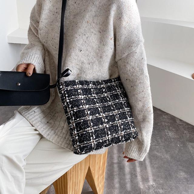 【bag】カジュアル大容量チェック柄しゃれど満々バッグ