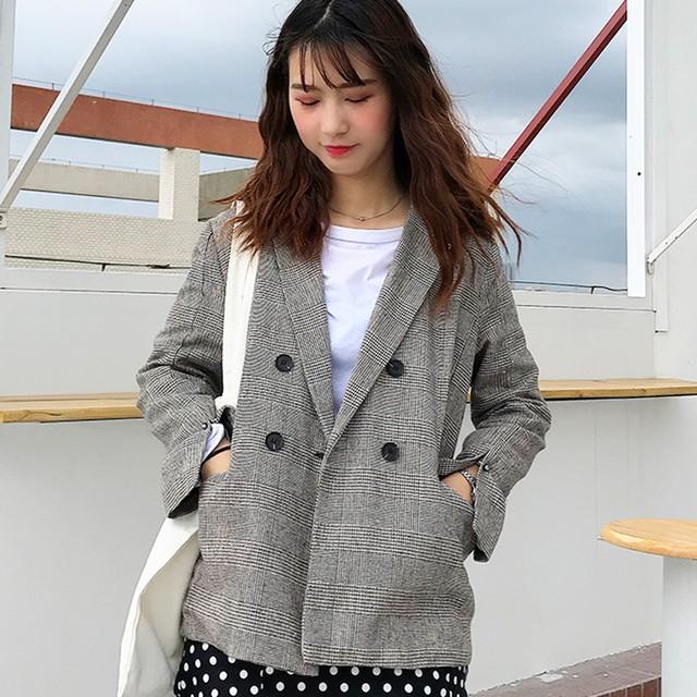 【outer】韓国系長袖着痩せ学園風定番チェック柄合わせやすいスーツジャケット