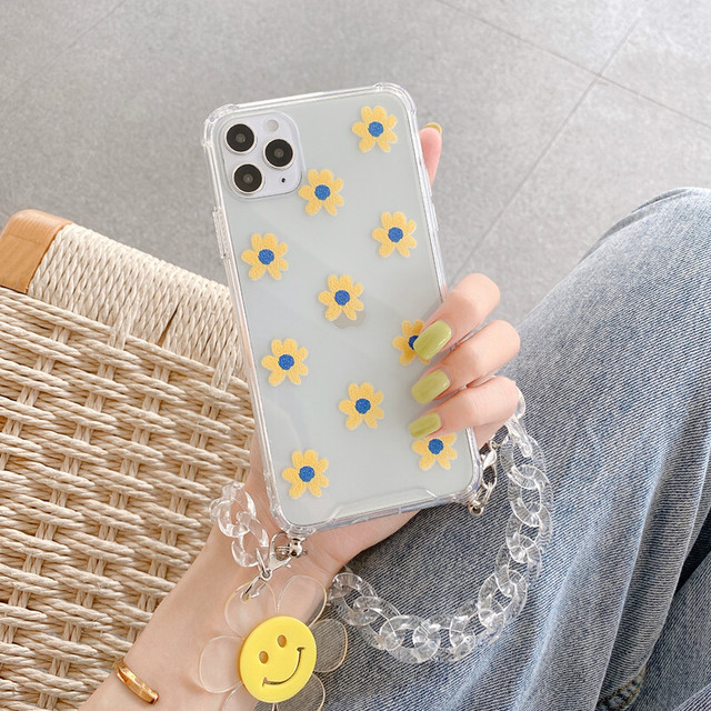 Yellow flower chain iphone case