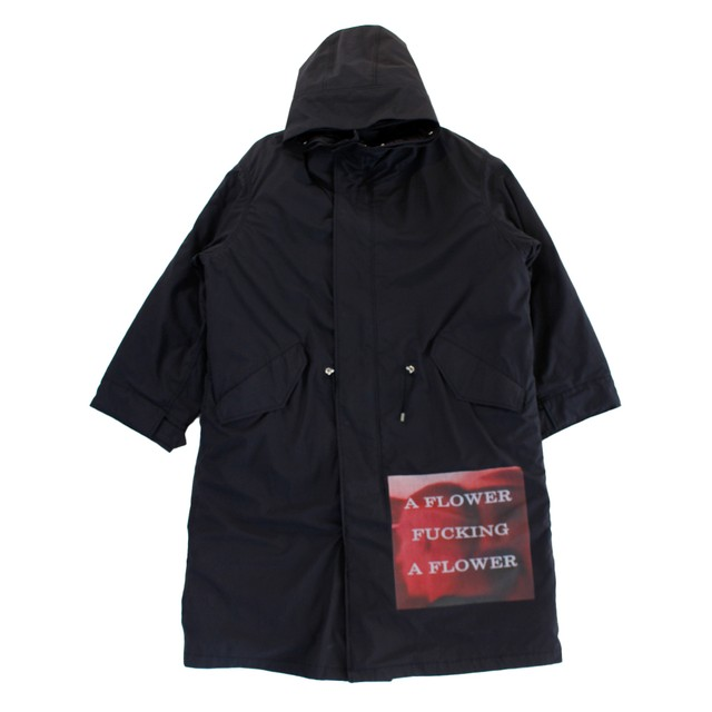 ALMOSTBLACK Patch Work Hooded Coat Black