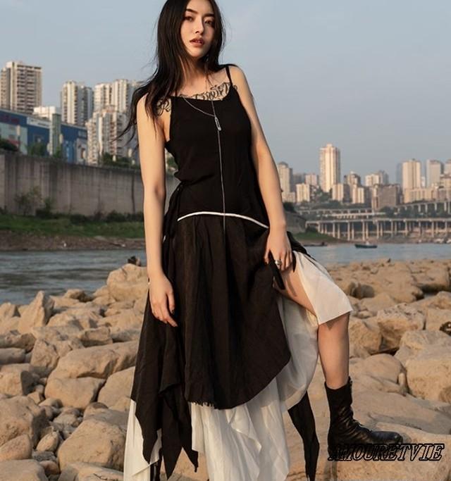 ワンピース ドレス キャミソール モノトーン 黒 ブラック モダン ダーク スタイリッシュ モード系 ヴィジュアル系 653