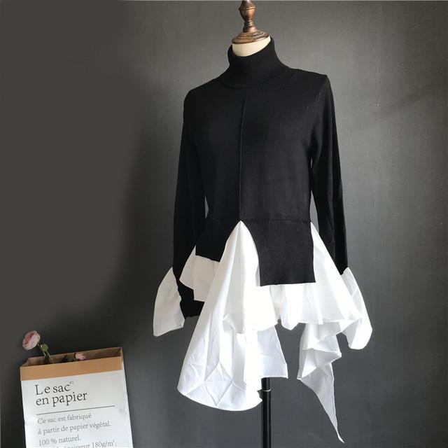 【アパレル・トップス】タートルネック 裾アシンメトリーシャツ ドッキング トップス・ブラック