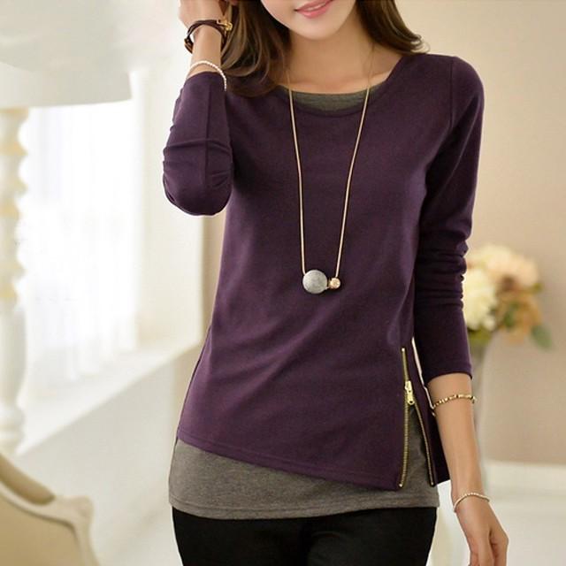 【tops】Tシャツ全3色合わせやすいタイトスリム切り替えファスナー飾り