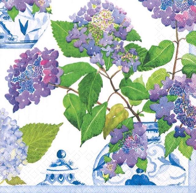 2021春夏【Caspari】バラ売り1枚 ランチサイズ ペーパーナプキン Hydrangeas and Porcelain ホワイト