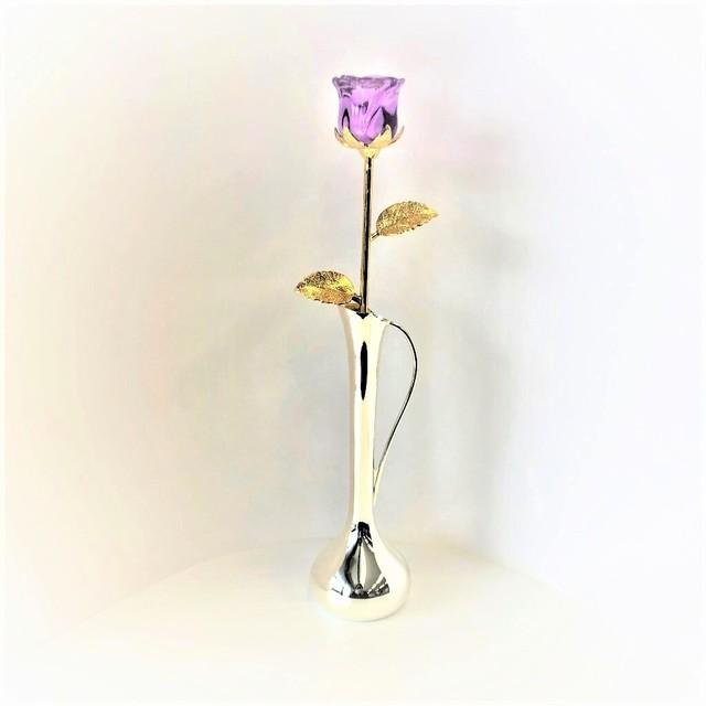 ガラスの薔薇(紫)とキング一輪挿し(071)