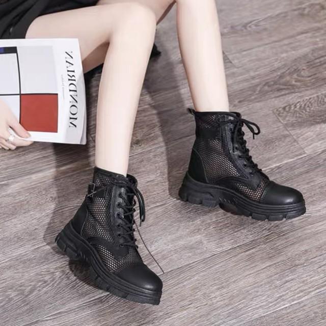 メッシュ デザイン ハイカット ブーツ ベルト シンプル 2色 B8010