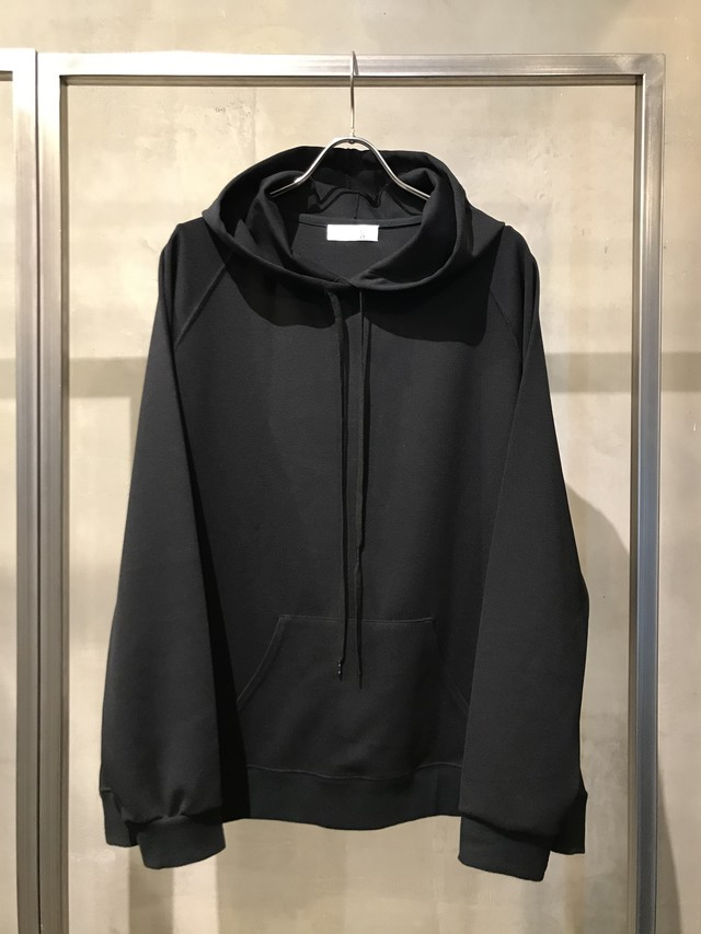T/f ponte fabric pullover hoodie - black