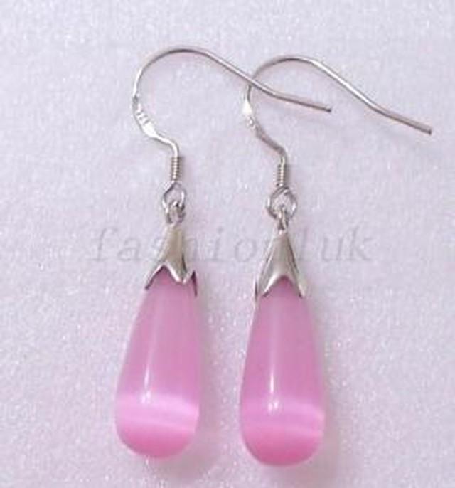 【送料無料】ファッションレディティアドロップピンクソリッドシルバーフックイヤリングfashion1uk lady tear drop pink cats eye stone 925 solid silver hook earrings