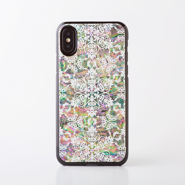 天然貝ケース★iPhone/Xperia/Galaxy シェルスマホケース(星のかけら・黒カバー)螺鈿アート