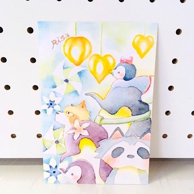 ペンギンとお祭りポストカード[129-41]