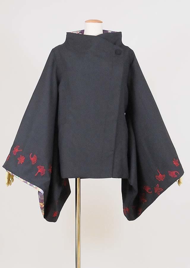 gouk 紅葉刺繍入り振袖ジャケット GGD26-J018 BK/M
