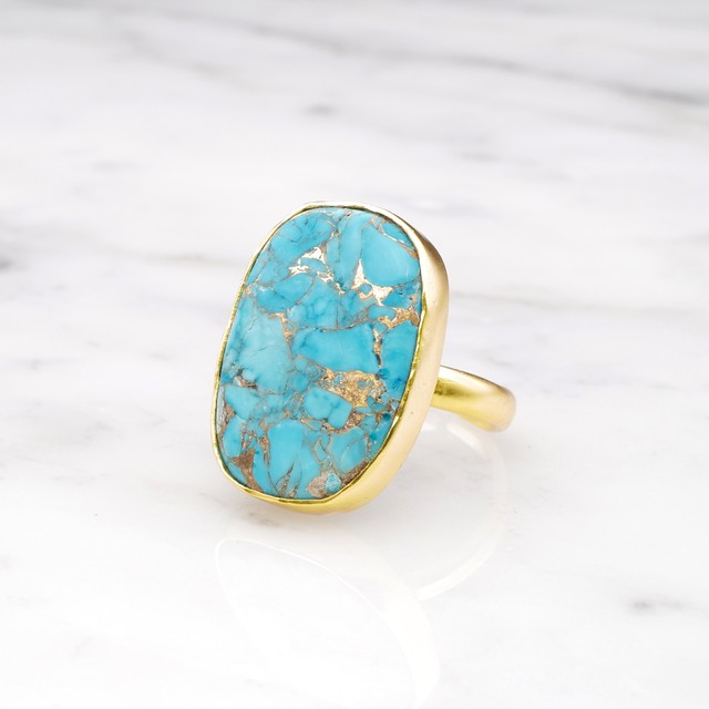 SINGLE BIG STONE RING GOLD 096