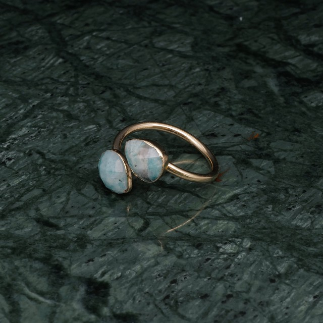 DOUBLE STONE OPEN RING GOLD 005