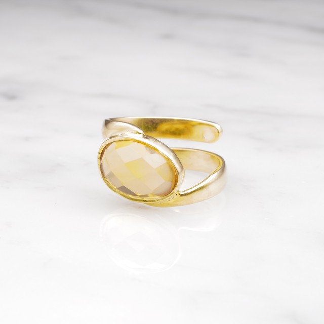 SINGLE STONE WAVE RING GOLD 004