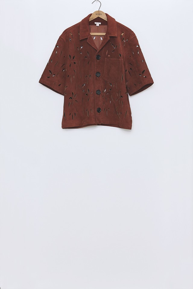 M A S U / FLOWER CUT LEATHER SHIRTS (RED BROWN)