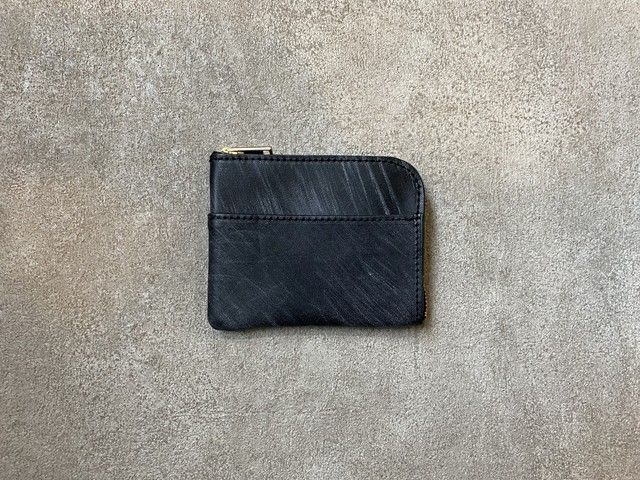 L-type small wallet : Bridle Laether (Black)