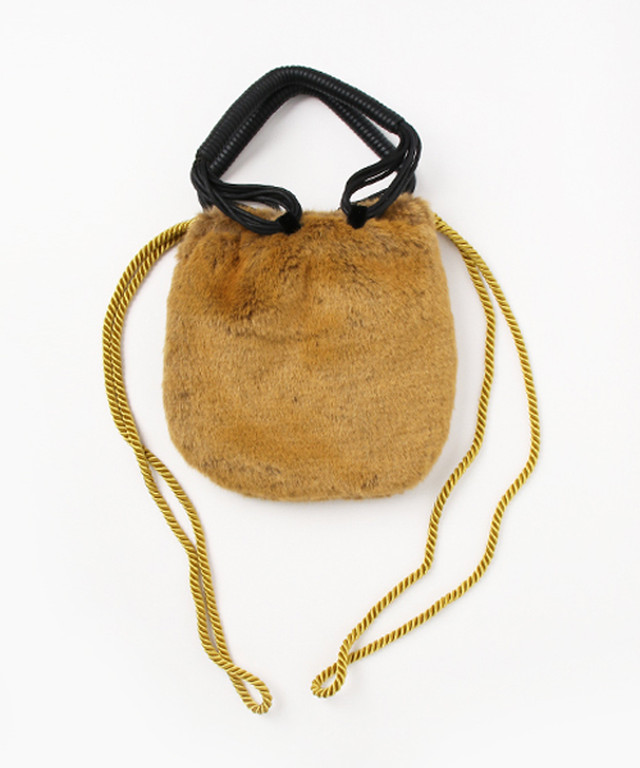 hs17AW-IR10 FUR LEATHER CORD BAG (brown)