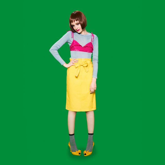 【ACTRESS】草木染めオーガニックコットンハイウエストタックスカート/イエロー