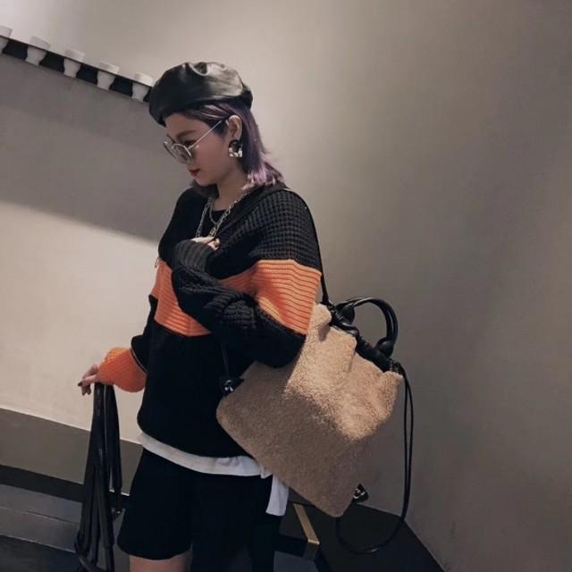 もこもこファースクエアトートバッグ トートバッグ バックパック 韓国ファッション