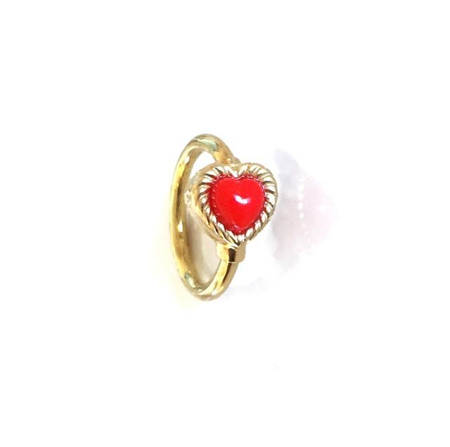 VINTAGE HEART CHARMのsnap RING body jewelry Red K18YG #0003 ヴィンテージハートリングボディピアス・赤/18金イエローゴールド