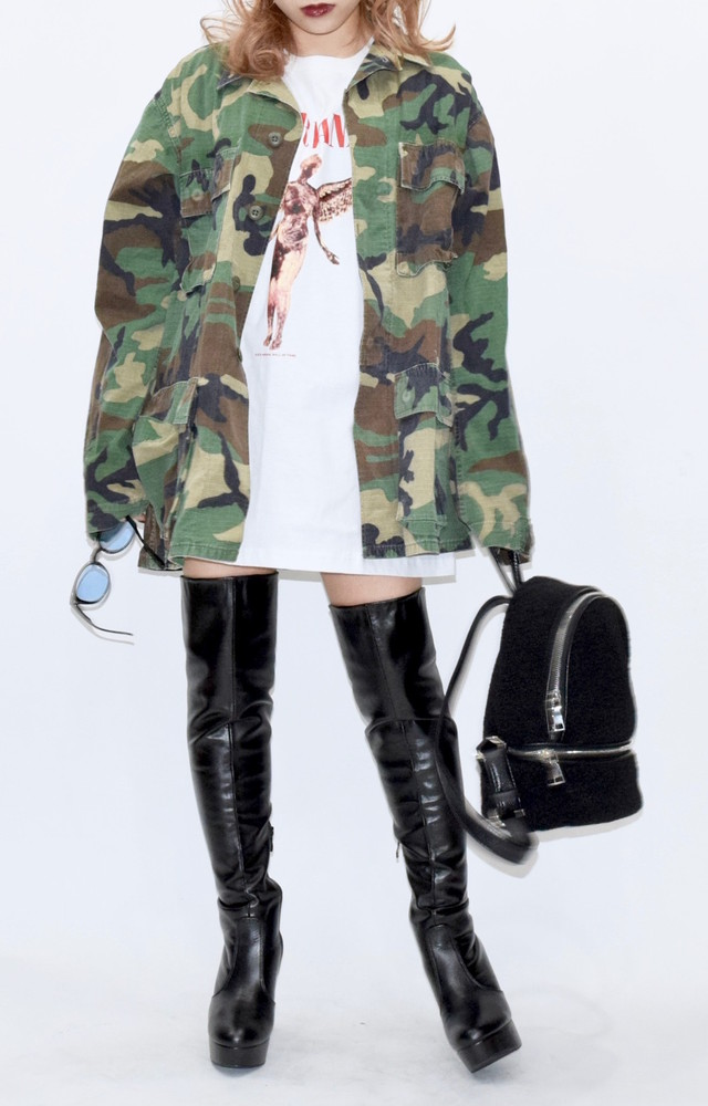 【WEB限定】camouflage military big jacket(KHK)