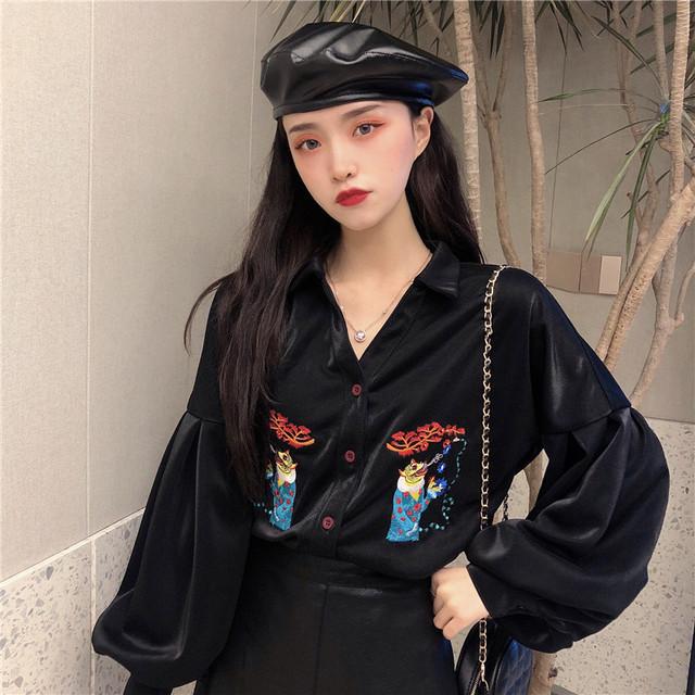 【トップス】ランタンスリーブ刺繍POLOネックファッションシャツ33437690