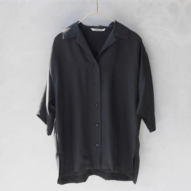 AURALEE SILK BRUSHED TWILL HALF SLEEVED SHIRTS INK BLACK