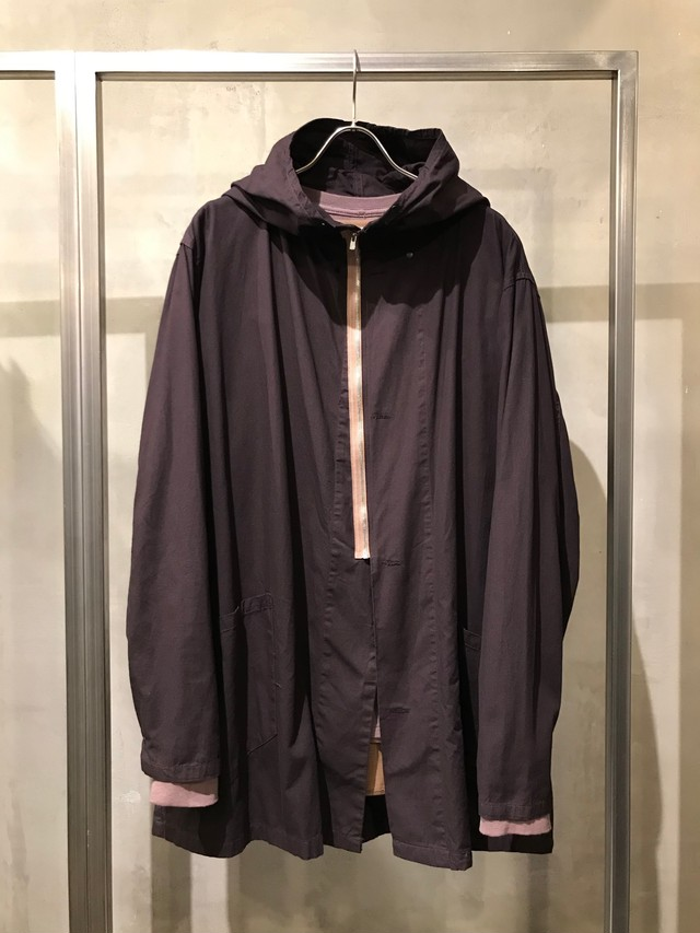 TrAnsference light cotton snow camouflage parka - dark plum