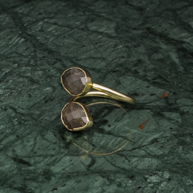 DOUBLE STONE OPEN RING GOLD 035
