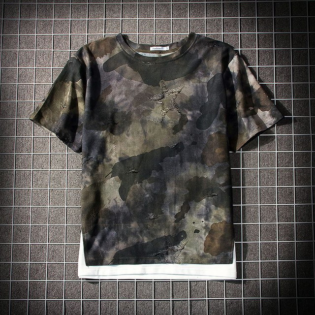 【Fashion Tide】クルーネック ミリタリーメンズTシャツ / Men's Short Sleeved Shirt Camouflage T-shirt, Fake Two Loose Creative Interest Routine Fashion Tide Brand Cotton (WCN-1529775532)