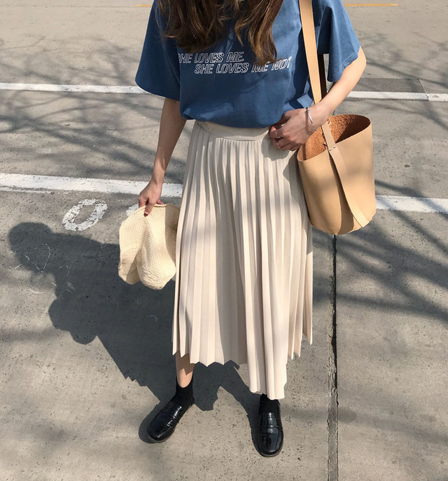 pure long pleated skirt
