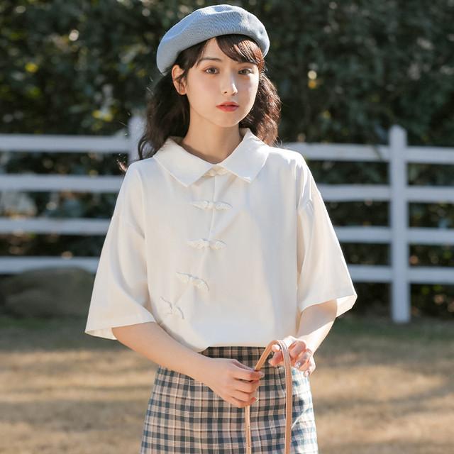 【MIANKAQIシリーズ】★チャイナ風シャツ★ トップス 可愛いボタン 折り襟 合わせやすい 無地 ホワイト 白い S M L