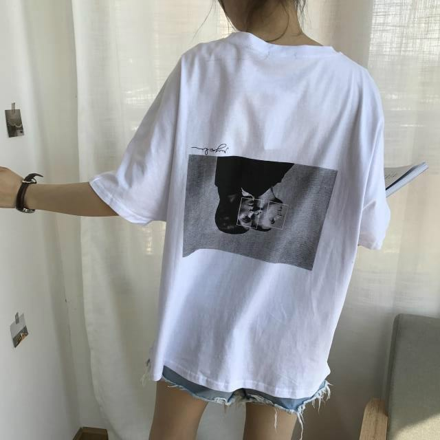 【tops】五分袖Tシャツシンプル原宿風BF風ルーズゆったり感ファッション