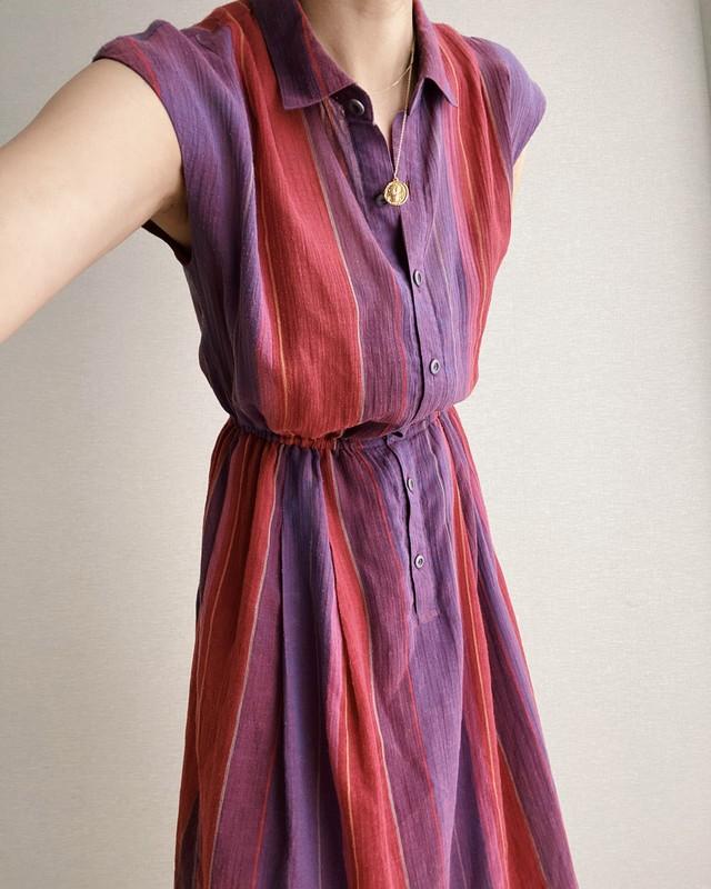(OP038)Silk stripe no sleeve one-piece