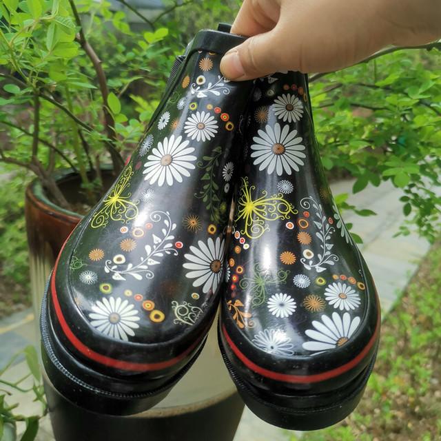 花柄レインショートブーツ   S-022