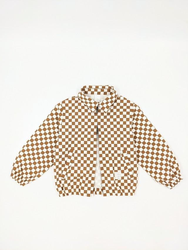 Kids Checkered Jacket - Beige